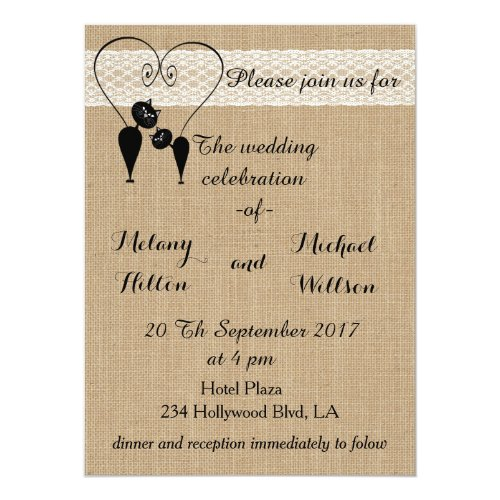 Burlap rustic funny cats in love wedding invitation