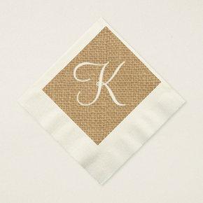 Burlap Rustic Initial | Wedding Paper Napkins