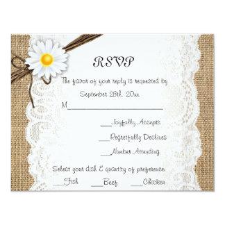 Burlap Rustic Lace Daisy Flower Wedding RSVP Card