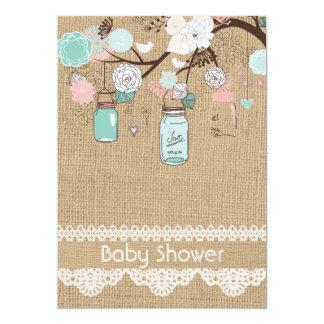 Burlap Rustic Lace Mason Jar Baby Shower Invitatio 5x7 Paper Invitation Card