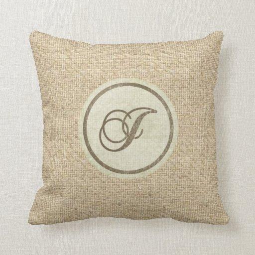Burlap rustic letter J decorative pillow