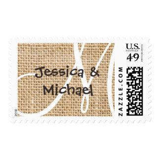 Burlap Rustic Monogram With Names Custom Stamp