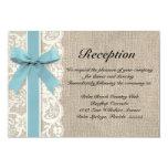 "Burlap Rustic Reception Directions Card Glacier 3.5"" X 5"" Invitation Card"