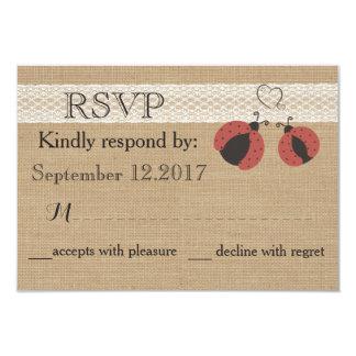 Burlap rustic romantic ladybugs wedding RSVP Card