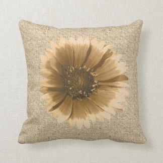 Burlap rustic sunflower decorative pillow
