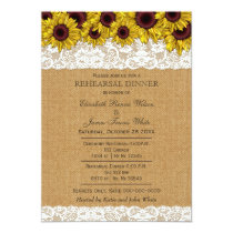 Burlap Rustic Sunflowers rehearsal dinner invites