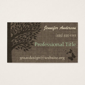 Burlap Rustic Tree Appointment Professional Business Card