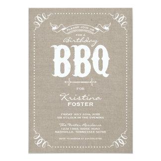 Burlap Rustic Vintage Chic Birthday Party BBQ Card