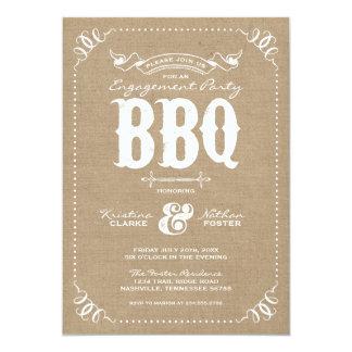 Burlap Rustic Vintage Chic Engagement Party BBQ Card