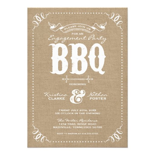 Burlap Rustic Vintage Chic Engagement Party BBQ Invitation