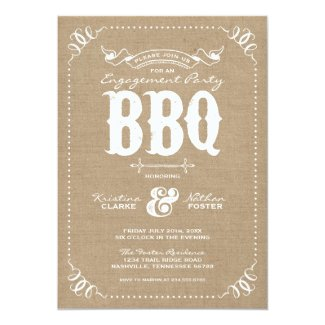 Burlap Rustic Vintage Chic Engagement Party BBQ 5x7 Paper Invitation Card