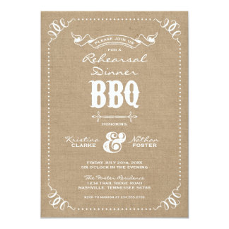 Burlap Rustic Vintage Chic Rehearsal Dinner BBQ Card