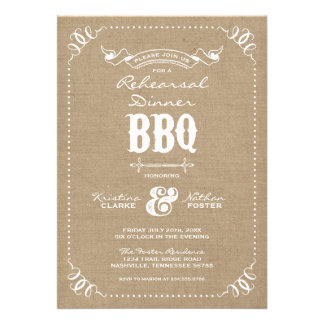 Burlap Rustic Vintage Chic Rehearsal Dinner BBQ Announcements