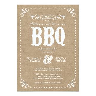 Burlap Rustic Vintage Chic Rehearsal Dinner BBQ 5x7 Paper Invitation Card