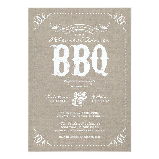 Burlap Rustic Vintage Rehearsal Dinner BBQ Card