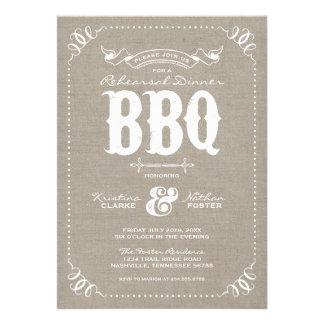 Burlap Rustic Vintage Rehearsal Dinner BBQ Personalized Invitation