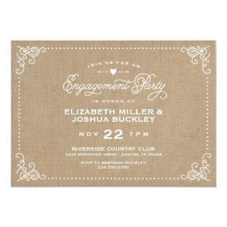 Burlap Rustic Vintage Script Engagement Party 5x7 Paper Invitation Card