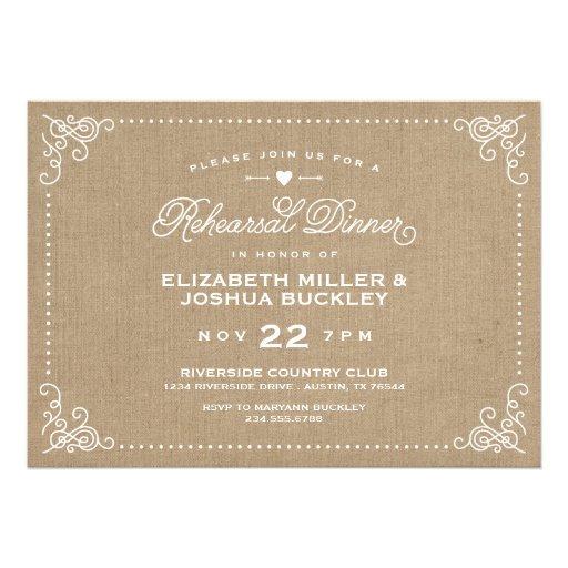 Burlap Rustic Vintage Script Rehearsal Dinner Custom Invitation