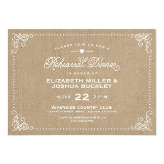 "Burlap Rustic Vintage Script Rehearsal Dinner 5"" X 7"" Invitation Card"