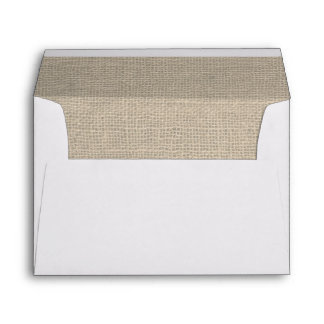Burlap Rustic Wedding Envelope - Address on Back