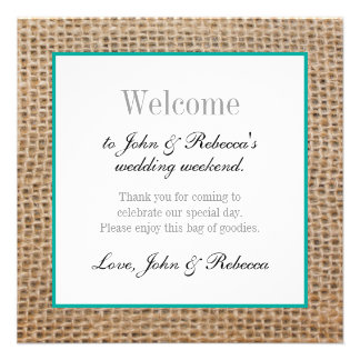 Burlap Rustic Wedding Welcome Card