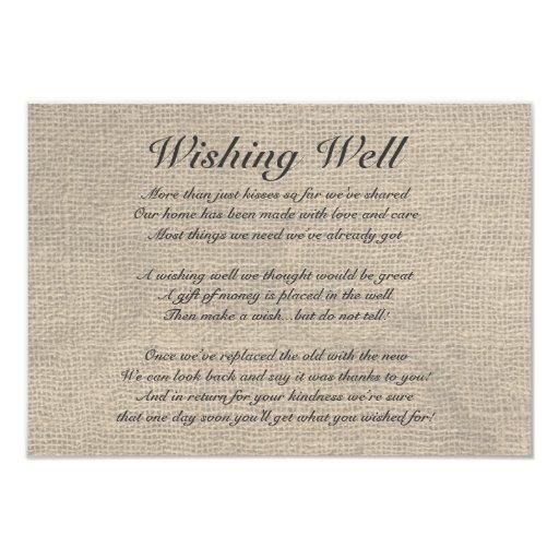 "Burlap Rustic Wishing Well Card 3.5"" X 5"" Invitation Card"