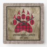 Burlap Rustic Wood Buffalo Plaid Bear Paw Family Square Wall Clock