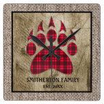 Burlap Rustic Wood Buffalo Plaid Bear Paw Family Square Wall Clock