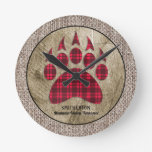 Burlap Rustic Wood Red Buffalo Plaid Bear Paw Round Clock
