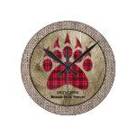 Burlap Rustic Wood Red Buffalo Plaid Bear Paw Round Clock