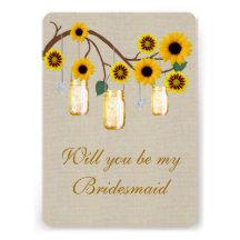 Burlap Rustic Yellow Mason Jars Bridesmaid Card