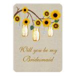 Burlap Rustic Yellow Mason Jars Bridesmaid Card Personalized Announcement
