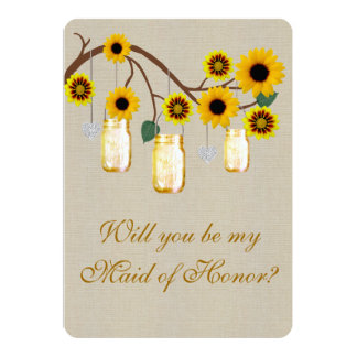 "Burlap Rustic Yellow Mason Jars Maid Of Honor Card 5"" X 7"" Invitation Card"