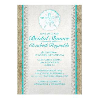 Burlap Sand Dollar Bridal Shower Invitations Invitation