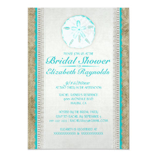 Burlap Sand Dollar Bridal Shower Invitations Invitation