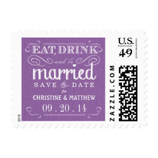 Burlap Save the Date Lavender Wedding Postage