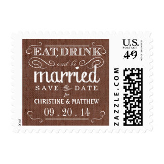 Burlap Save the Date Mocha Brown Wedding Postage