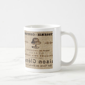 burlap scripts shabby chic french country cake coffee mug