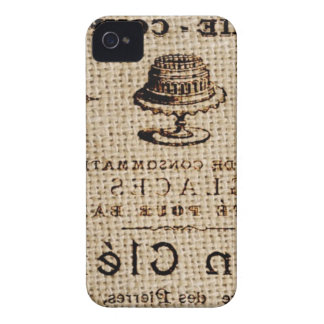 burlap scripts shabby chic french country cake iPhone 4 Case-Mate case