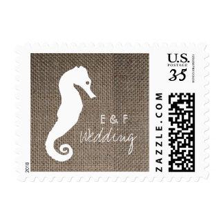 Burlap Seahorse Postage Stamp