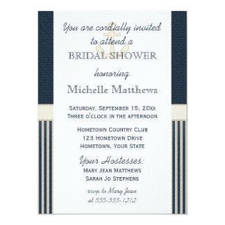 Burlap Ship's Anchor Nautical Stripe Bridal Shower Card