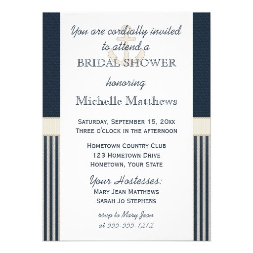 Burlap Ship's Anchor Nautical Stripe Bridal Shower Personalized Invitations