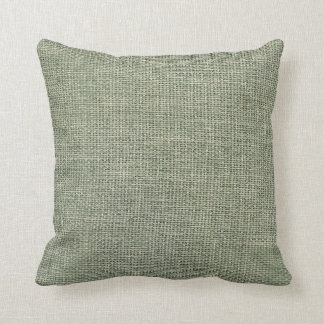 Burlap Simple Almond Green Throw Pillow