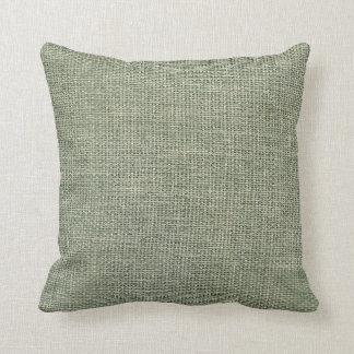 Burlap Simple Almond Green Throw Pillow