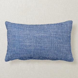 Burlap Simple Blue Lumbar Pillow