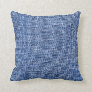Burlap Simple Blue Throw Pillow