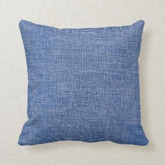 Burlap Simple Blue Throw Pillows
