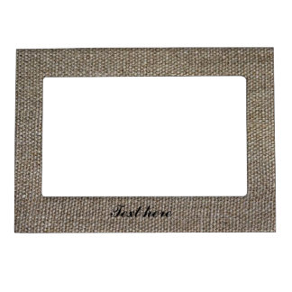 Burlap Simple country chic photo frame magnet