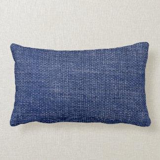 Burlap Simple Dark Blue Lumbar Pillow