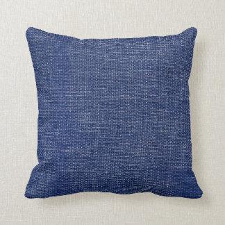 Burlap Simple Dark Blue Throw Pillow